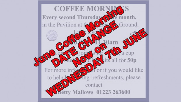 17-05-28 Coffee Morning Date Change