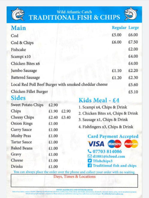 Fish and Chip Van Menu